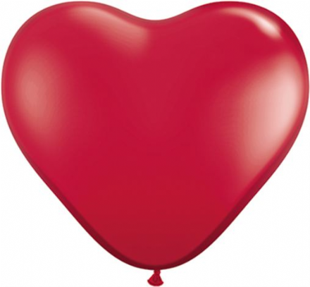 3' Jewel Ruby Red Heart Latex Balloons x 2
